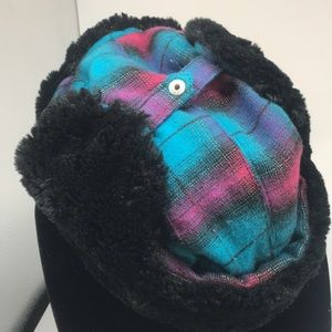 Winter trapper hat faux fur pink plaid (C1.11)